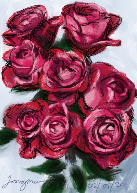 '8 Pink Roses'